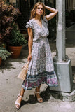 Floral Printed Sleeveless Midi Dress-ChicBohoStyle