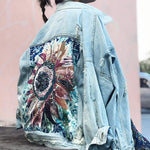 Flower Child Sequins Embroidered Denim Jacket-ChicBohoStyle