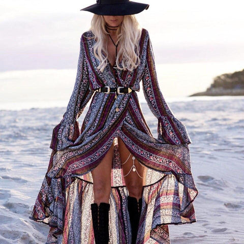 Free Spirit V-Neck Long Sleeve Maxi Dress-ChicBohoStyle
