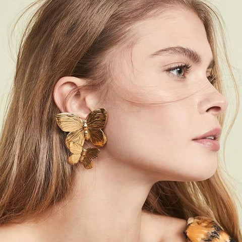 Gold Double Butterfly Stud Earrings-ChicBohoStyle