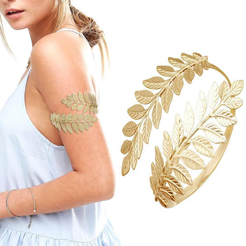 Greek Roman Laurel Leaf Bracelet Armband Upper Arm Cuff-ChicBohoStyle
