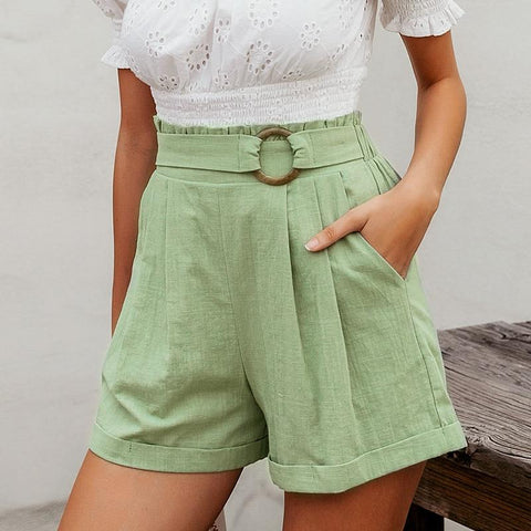 Green Casual High Waist Solid Shorts-ChicBohoStyle