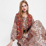 Gypsy Apparel Red Velvet Sequins Embroidered Waistcoat