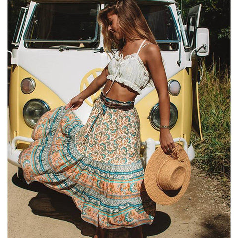 Gypsy Style Casual A-Line Midi Skirt-ChicBohoStyle
