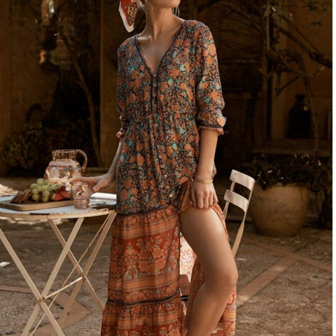 Gypsy Vibes Long Sleeve Tiny Button Maxi Dress-ChicBohoStyle