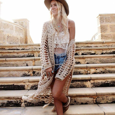 Hand Knitted Long Cardigan-ChicBohoStyle