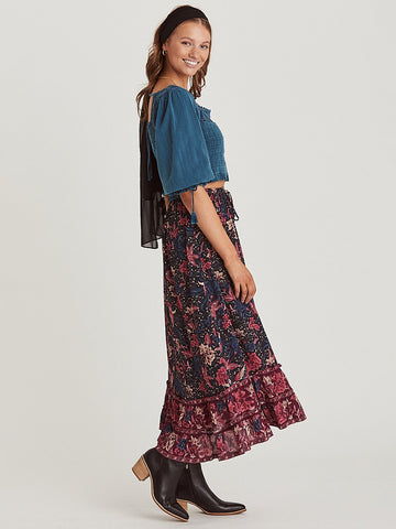 Hippie Birds Floral Print Bohemian Pleated Maxi Skirt-ChicBohoStyle