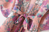 Horse Floral Print Kimono Cover Up with Tied Bow-ChicBohoStyle