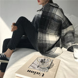 Korean Style Warm Woollen Oversized Plaid Shirt Jacket