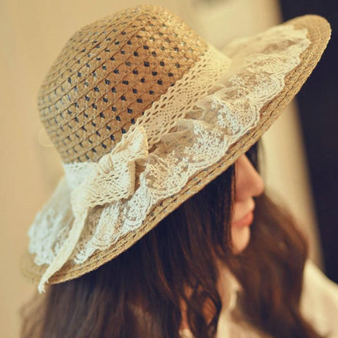 Lace Straw Sun Hat-ChicBohoStyle