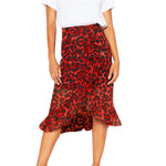 Leopard Printed High Waist Pleated Midi Skirt-ChicBohoStyle