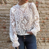 Long Sleeve Petal Collar See Through Lace Top-ChicBohoStyle