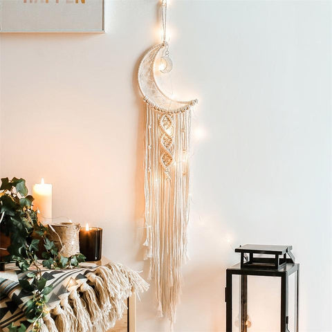 Moon Macrame Wall Hanging Woven Knitted Tapestry-ChicBohoStyle