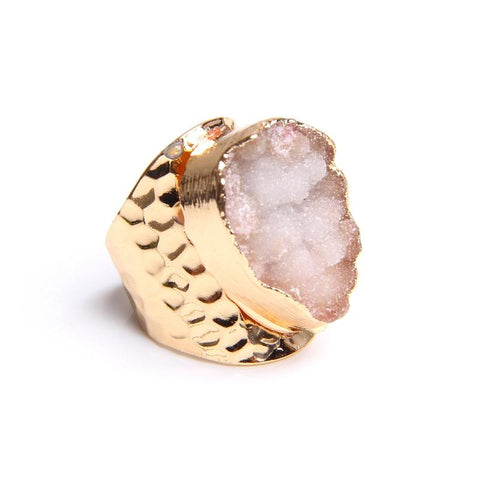 Natural Crystal Quartz Stone Druzy Ring For Women-ChicBohoStyle