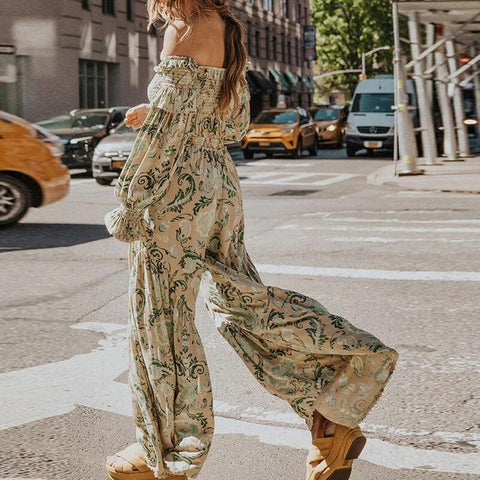 Off Shoulder Crop Top and Wide Leg Pants Boho Suits-ChicBohoStyle