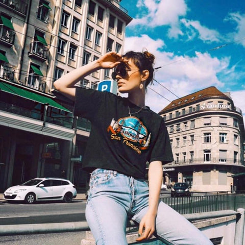 Old Washed San Francisco Crop Top Tee-ChicBohoStyle