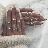 Opal Stone Geometric Waterdrop Boho Midi Ring Set 15pcs-ChicBohoStyle