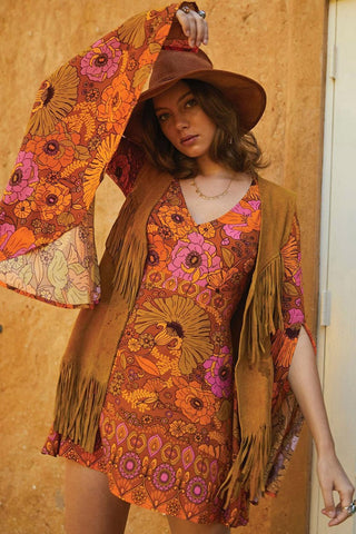 Orange Floral Print Slit Sleeve Boho Dress-ChicBohoStyle