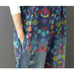 Oversized Wide Leg Flower Printed Holes Ripped Jean Jumpsuit-ChicBohoStyle