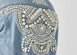 Pearls Embellished Denim Jacket for Women-ChicBohoStyle