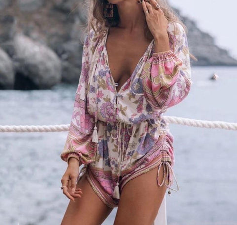 Pink Lace Up Rompers-ChicBohoStyle
