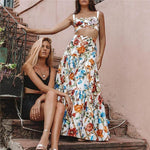 Plus Size Summer Flowers Two Piece Dress-ChicBohoStyle