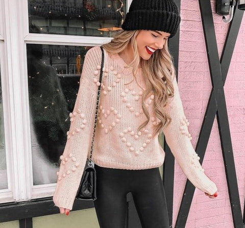 Knitted Long Sleeve Casual Pullovers