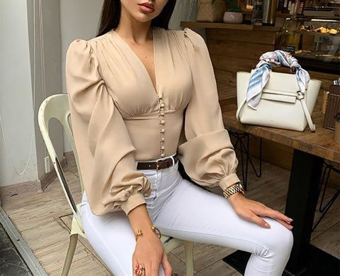 Vintage Apparel Lantern Long Sleeve Button Up Blouse