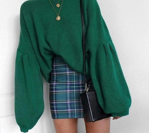 Lantern Sleeve Loose Knitted Sweater