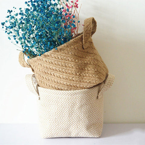 Boho Braided Jute Cotton Linen Basket