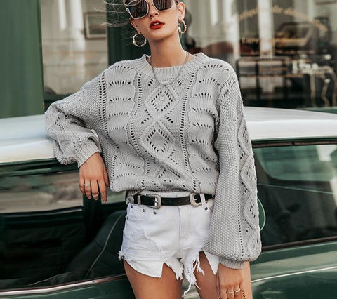 Boho Hollow Out Knitted Pullover