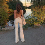 Soft Girl Back Triangle White Pants