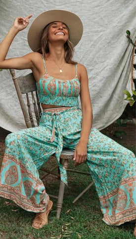 Turquoise Crop Top and Wide Leg Pants Set