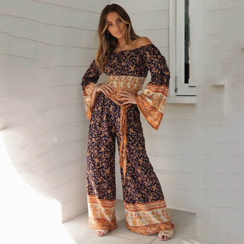 Boho Flare Sleeve Crop Top & Pants Set