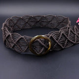 Rope Knitted Belt With Round Wooden Big Buckle-ChicBohoStyle