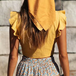 Ruffle Sleeve Bow Tie Crop Top-ChicBohoStyle