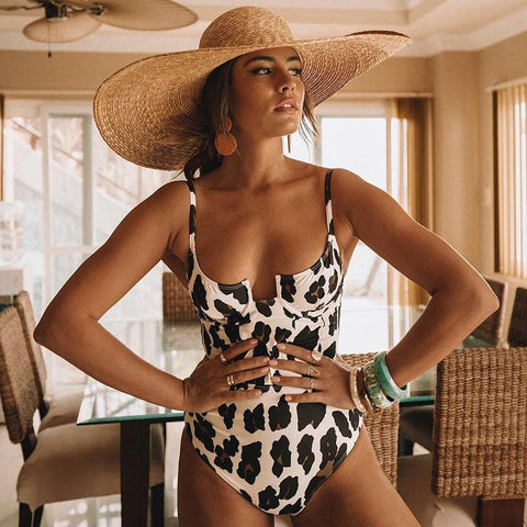 Sexy Leopard Push Up One Piece Swimsuit-ChicBohoStyle