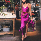 Sexy Slit Spaghetti Strap V-Neck Backless Satin Party Dress-ChicBohoStyle
