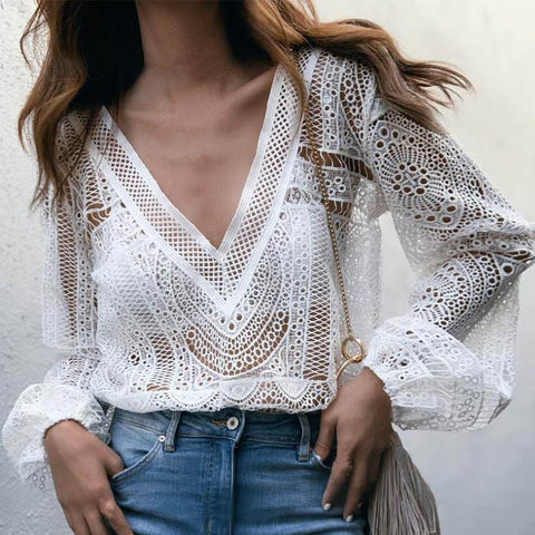 Sexy White Lace Hollow Out Plus Size Blouse-ChicBohoStyle