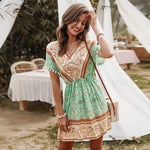 Short Sleeve Geometric Print Boho Dress-ChicBohoStyle