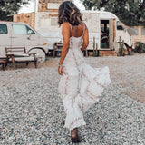 Sleeveless Strap Irregular Ruffles Boho White Maxi Dress-ChicBohoStyle