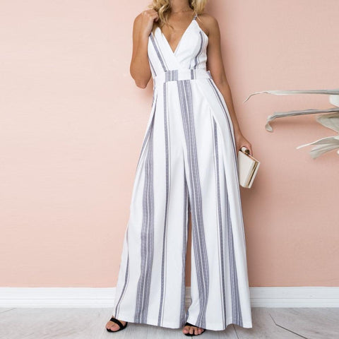 Sleeveless V-Neck Strip Boho Chic Jumpsuits-ChicBohoStyle