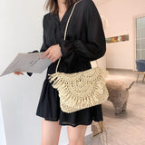 Square Tassel Straw Bag-ChicBohoStyle