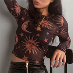 Sun Moon Stars Transparent Blouse-ChicBohoStyle