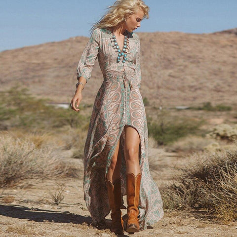 Three Quarter Sleeve Gypsy Hippie Dress-ChicBohoStyle