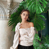 Vintage Apricot Asymmetrical Shoulder Long Puff Sleeve Blouse-ChicBohoStyle