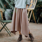Vintage Elastic Waist Asymmetrical Cotton Skirt-ChicBohoStyle