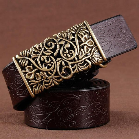 Vintage Floral Cowskin Leather Belt-ChicBohoStyle
