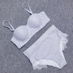 Vintage Lace Polka Dot Push Up Bikini Set-ChicBohoStyle