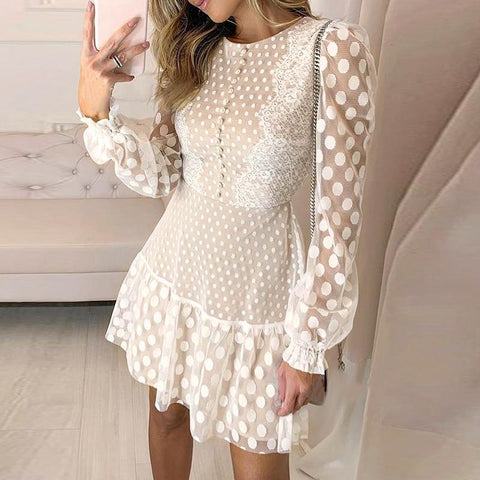 Vintage Long Sleeve Mesh Lace Dress-ChicBohoStyle